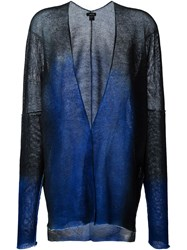 Avant Toi Semi Sheer V Neck Tonal Cardigan Black