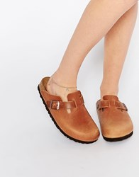 Birkenstock Boston Natural Leather Clog Flat Shoes Tan