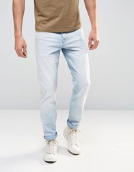 Asos Slim Jeans In Light Wash Bleach Blue