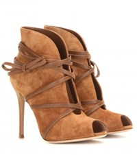 Gianvito Rossi Suede Open Toe Ankle Boots Beige
