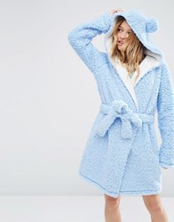 Asos Fluffy Cloud Robe With Ears Baby Blue Purple
