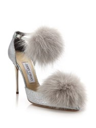 Jimmy Choo Dolly 100 Fox Fur And Glittered Textile Ankle Strap Pumps Silver