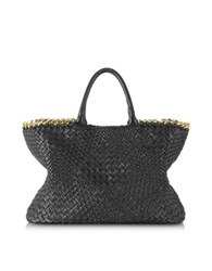 Ghibli Black Woven Leather Tote W Chain