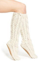 Women's Lemon 'Arctic' Cable Knit Knee High Slippers Ivory Powder