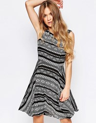 Liquorish Skater Dress In Geo Print Wiith Lace Back Black White
