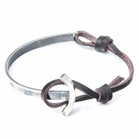 Anchor And Crew Dark Brown Galleon Leather Silver Half Bangle