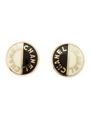 Chanel Vintage Logo Button Earrings Black