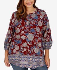Lucky Brand Trendy Plus Size Floral Print Blouse Medium Red
