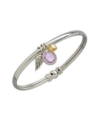 Lord And Taylor 14K Yellow Gold Sterling Silver Amethyst Bracelet Pink Amethyst Silver