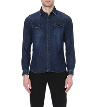 The Kooples Washed Denim Shirt Blue