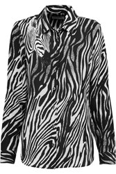 Equipment Brett Zebra Print Washed Silk Shirt Animal Print