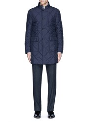 Canali Reversible Wool And Quilted Shell Coat Blue