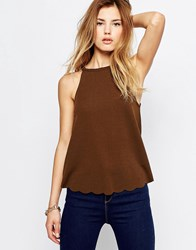 Daisy Street Top With Scalloped Hem Olive Green
