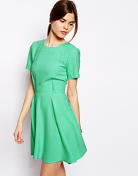 Asos Crepe Skater Dress With Seaming Mint