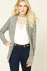 Forever 21 Hooded Marled Knit Cardigan Black Charcoal