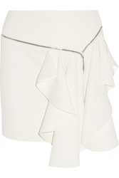 Jay Ahr Zip Trimmed Ruffled Crepe Mini Skirt White