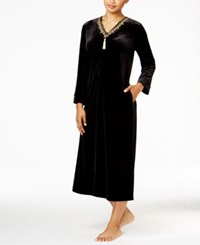 Thalia Sodi Embroidered Trimmed Velour Caftan Only At Macy's Deep Black