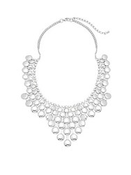 Saks Fifth Avenue Handmade Geometric Casted Bib Necklace Silver