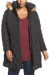 Jessica Simpson Plus Size Women's Quilted Puffer Coat With Faux Fur Trim