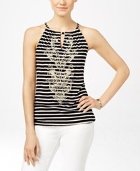 Inc International Concepts Embroidered Striped Halter Top Only At Macy's Deep Black