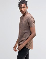 Asos Longline T Shirt With Raw Curved Hem And Rust Acid Wash Chestnut Red