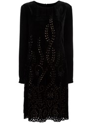 Alberta Ferretti Perforated Detailing Flared Dress Black