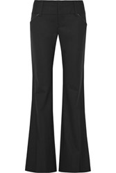 Alice Olivia Leather Trimmed Wool Blend Bootcut Pants Black