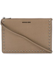 Michael Michael Kors 'Ava' Convertible Clutch Brown