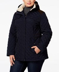 Laundry By Design Plus Size Quilted Hooded Jacket Navy