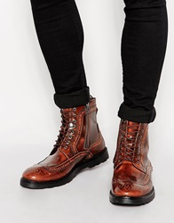 Asos Brogue Boots In Tan Leather With Wedge Sole