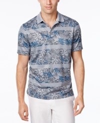 Tasso Elba Men's Big And Tall Floral Striped Polo Grey Combo