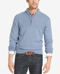 Izod Men's Dual Texture Quarter Zip Sweater Ocean