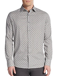Saks Fifth Avenue Regular Fit Neat Diamond Check Cotton Sportshirt Grey