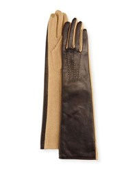 Portolano Leather And Wool Blend Long Gloves Brown Camel