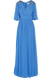 Badgley Mischka Embellished Pleated Silk Georgette Gown Blue