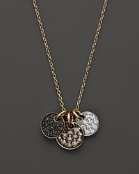 Bloomingdale's Brown Black And White Diamond Disk Pendant In 14K Trigold .45 Ct. T.W. Multi