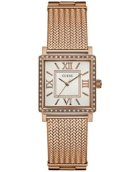 Guess Women's Highline Rose Gold Tone Stainless Steel Mesh Bracelet 28Mm U0826l3