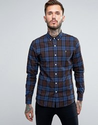 Farah Shirt With Tartan Flannel Check In Slim Fit Brown Falcon