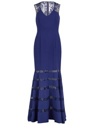 Gina Bacconi Sequinned Lace And Crepe Maxi Dress Navy