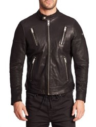 Diesel Leather Zip Up Jacket Black