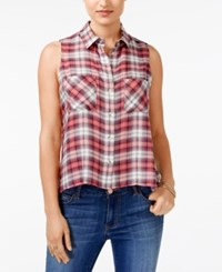 Polly And Esther Juniors' Plaid Sleeveless Button Front Shirt Navy Coral