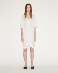 The Sleep Shirt Kaftan Night White Sheer Stripe