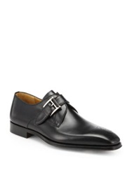 Saks Fifth Avenue By Magnanni Leather Monk Strap Dress Shoes Cognac Black