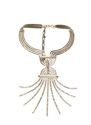 Lanvin Elvira Bashed Pendant Choker Necklace Gold