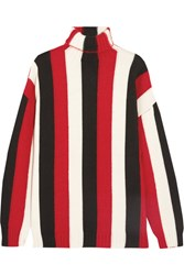 Msgm Striped Wool Blend Turtleneck Sweater Red
