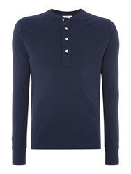 Gant Diamond G Henley Long Sleeve T Shirt Marine