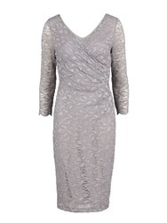 Gina Bacconi Antique Corded Lace Wrap Dress Grey