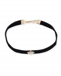 Kismet By Milka Velvet Choker Necklace With Diamond Evil Eye Station