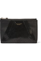 Halston Snake Effect Leather Clutch Black
