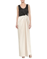 Halston Heritage Satin Combo Twist Front Gown Black Champagne